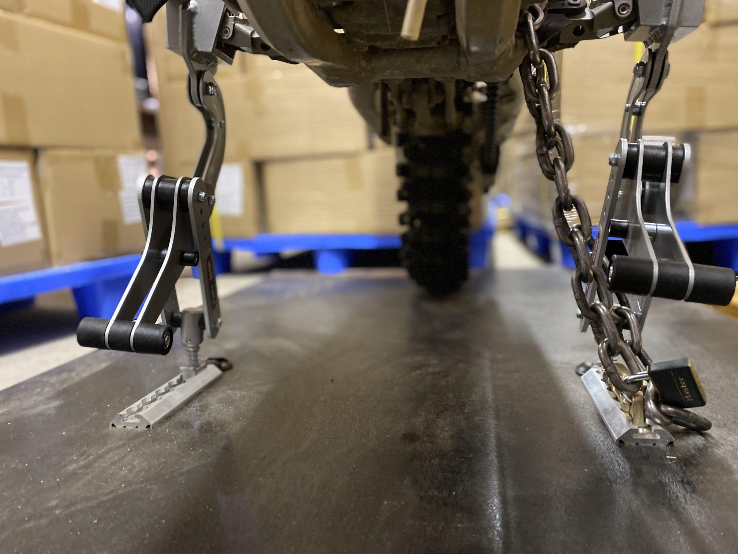 Moto cinch lockable tie down for motorcycles